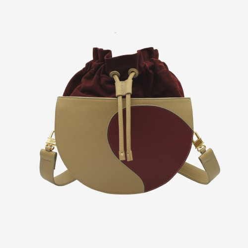 Carry Canasto Regular Hueso-Vino | Mimesis